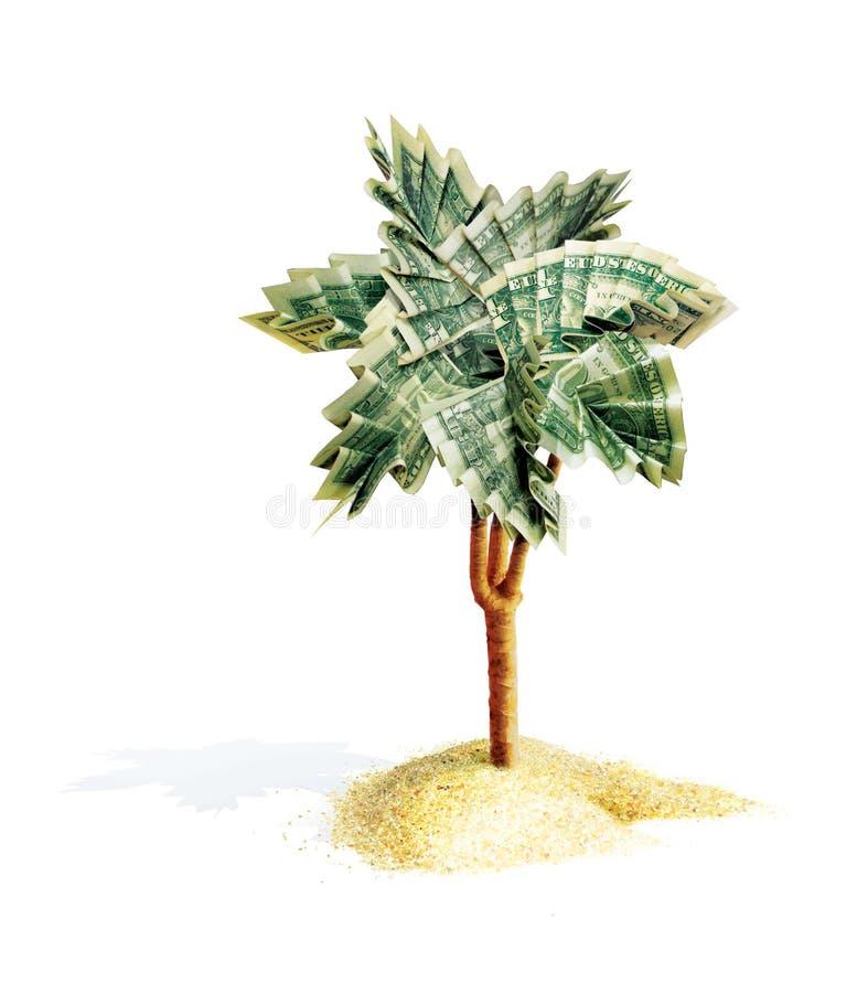 Palmenorigami mit den Blättern, gefaltet von den Dollarscheinen Der Geldbaum wächst von einem Sandhaufen Abbildung 3D Lokalisiert stock abbildung