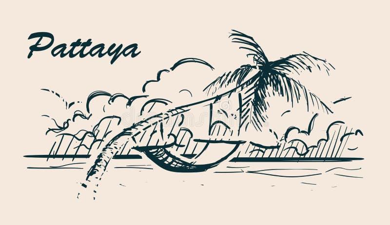 Palmera con la hamaca en el ilustration exhausto del bosquejo de la mano de la playa de Pattaya ilustración del vector