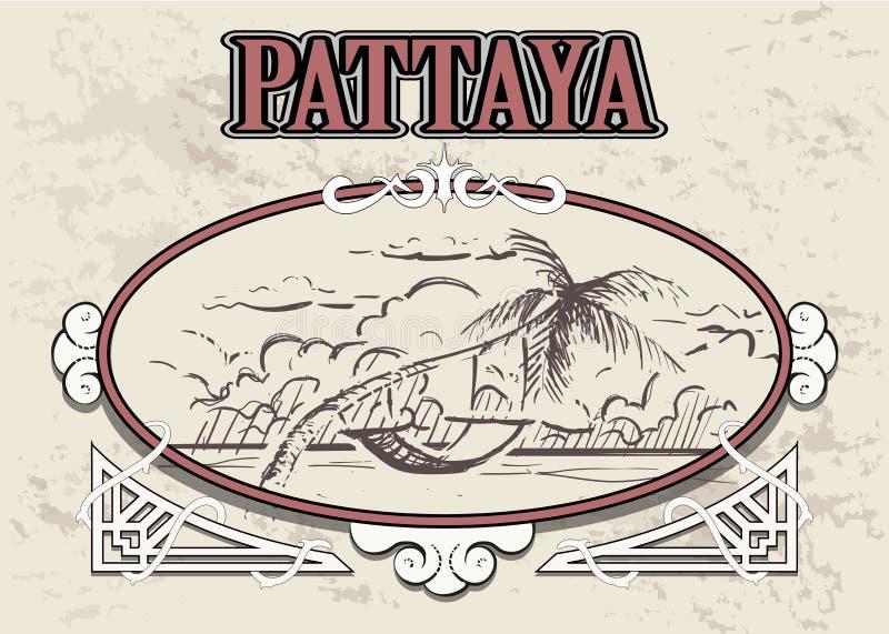 Palmera con la hamaca en Pattaya Tailandia la mano de la playa de Pattaya dibujada ilustración del vector