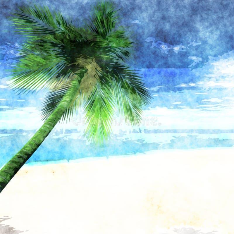 Palmera de la acuarela en la playa stock de ilustración
