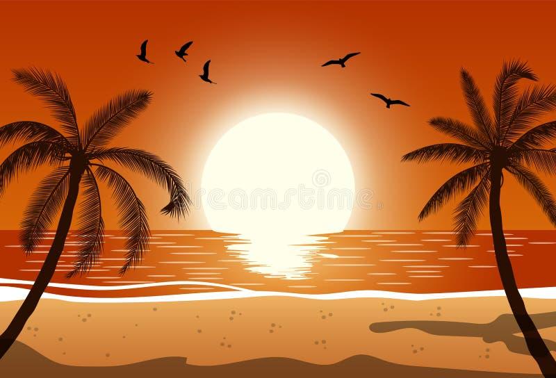 Palmera de la silueta en la playa ilustración del vector
