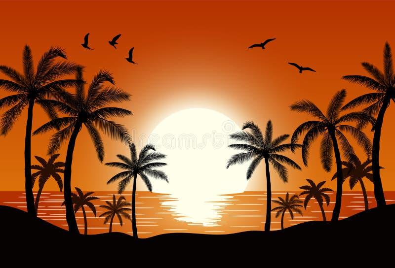 Palmera de la silueta en la playa stock de ilustración