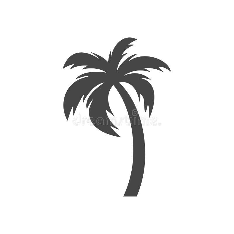 Palmera de la silueta, icono de la palmera en blanco stock de ilustración