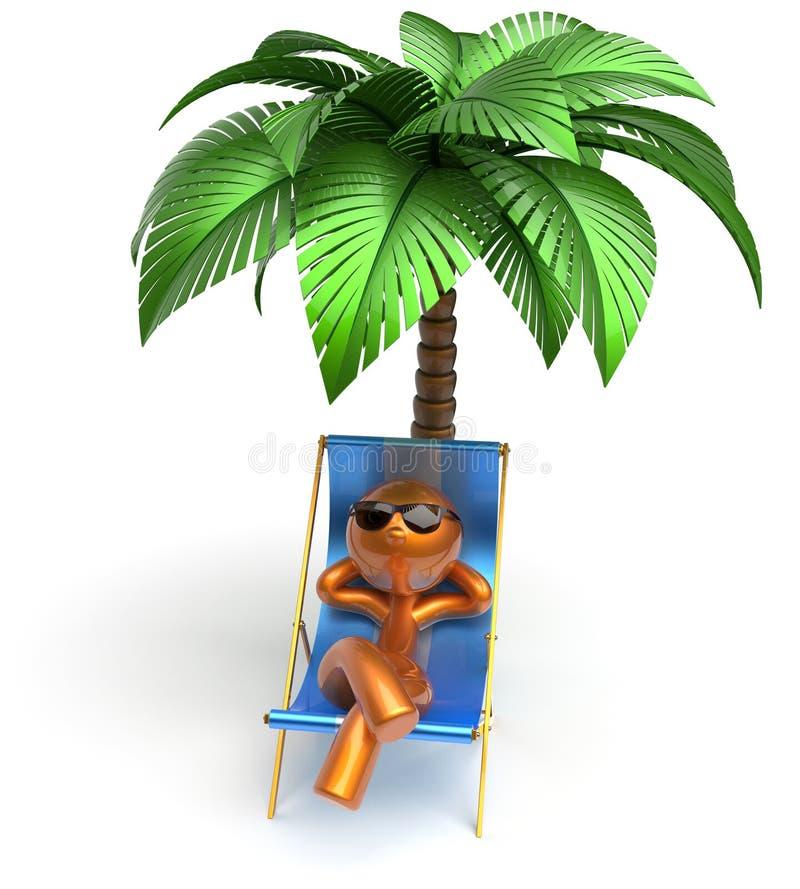 Palmera de refrigeración de relajación de la silla de cubierta de la playa del carácter del hombre ilustración del vector
