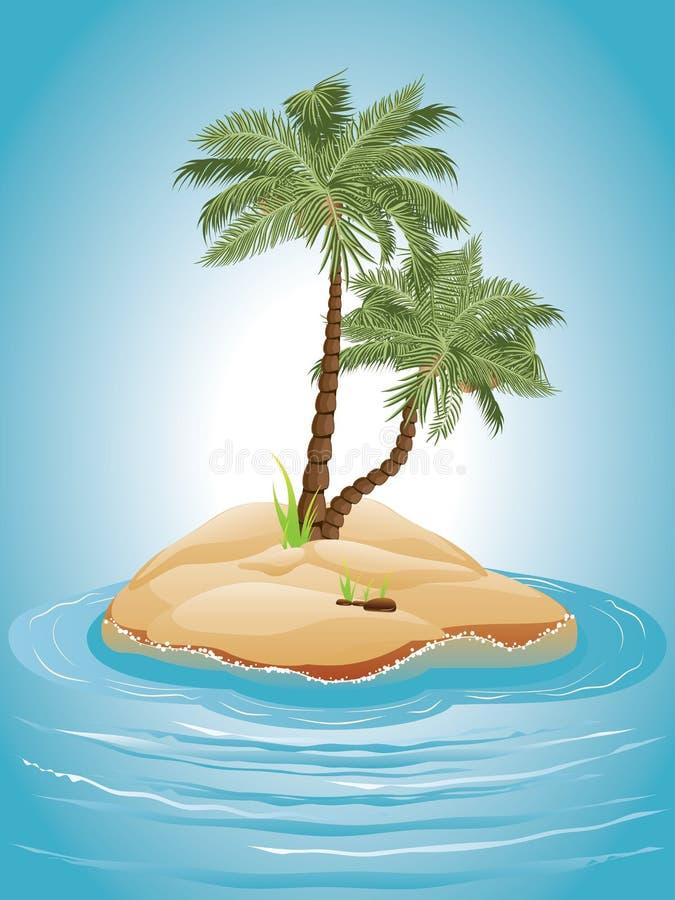 Palmera en la isla stock de ilustración