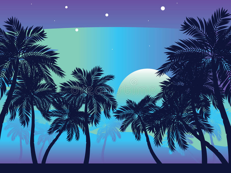 Palmera en la noche stock de ilustración