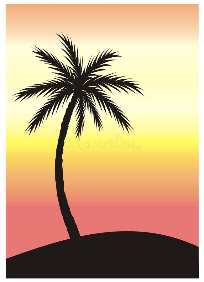 Palmera en la puesta del sol ilustración del vector