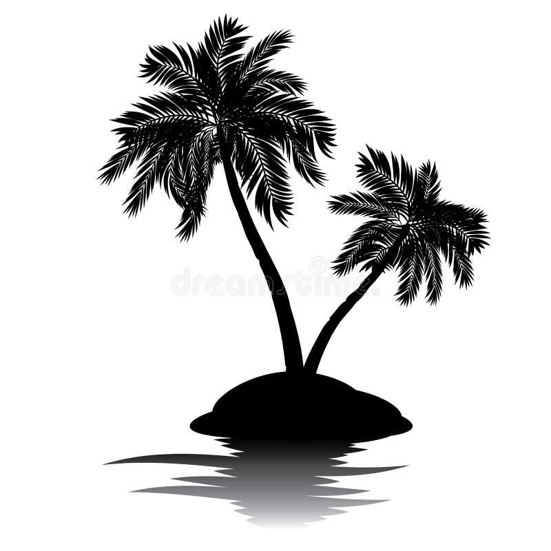 Palmera en silueta de la isla ilustración del vector