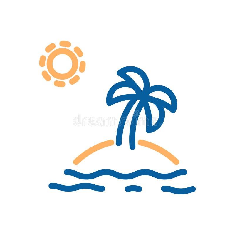 Palmera en una isla con la arena en el medio del océano con el sol stock de ilustración