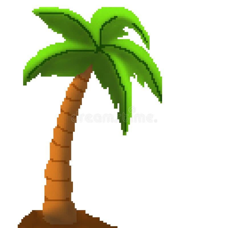 Palmera exhausta del pedazo del pixel 8 en la playa arenosa stock de ilustración