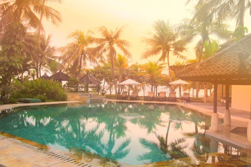 Palmera y piscina de lujo hermosa en puesta del sol fotografía de archivo libre de regalías