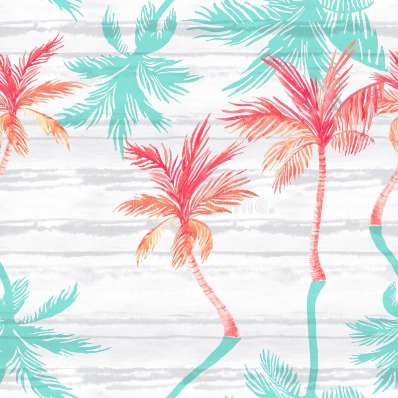 Palmeras de la acuarela, sombras texturizadas en fondo rayado simple stock de ilustración