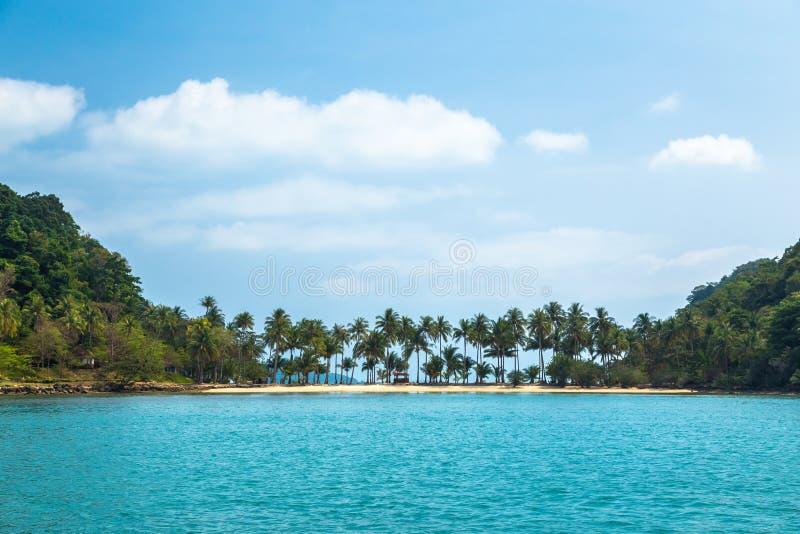 Palmeras en la orilla arenosa en el mar tropical de la turquesa contra el cielo azul y las nubes imagenes de archivo