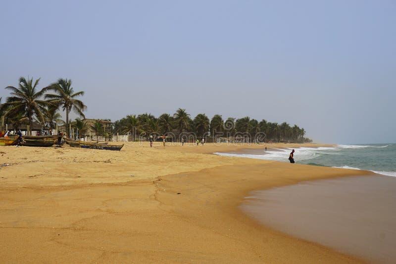 Palmeras en la playa de Lome en Togo fotografía de archivo libre de regalías