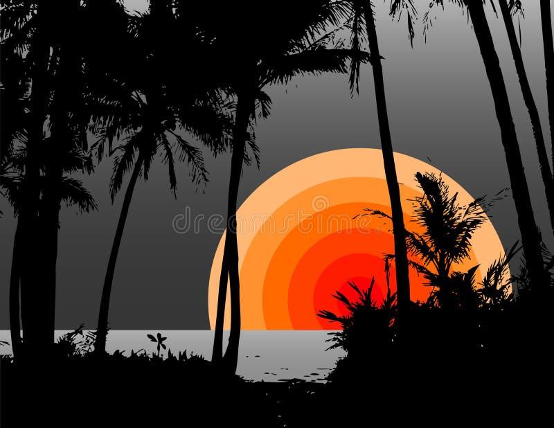 Palmeras en la playa. Vector ilustración del vector