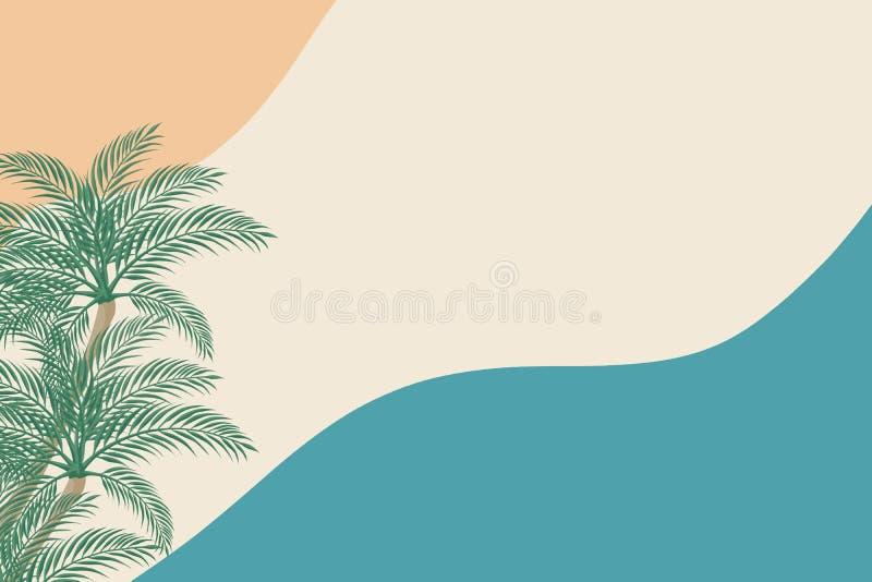 Palmeras en un fondo en colores pastel Concepto del verano libre illustration