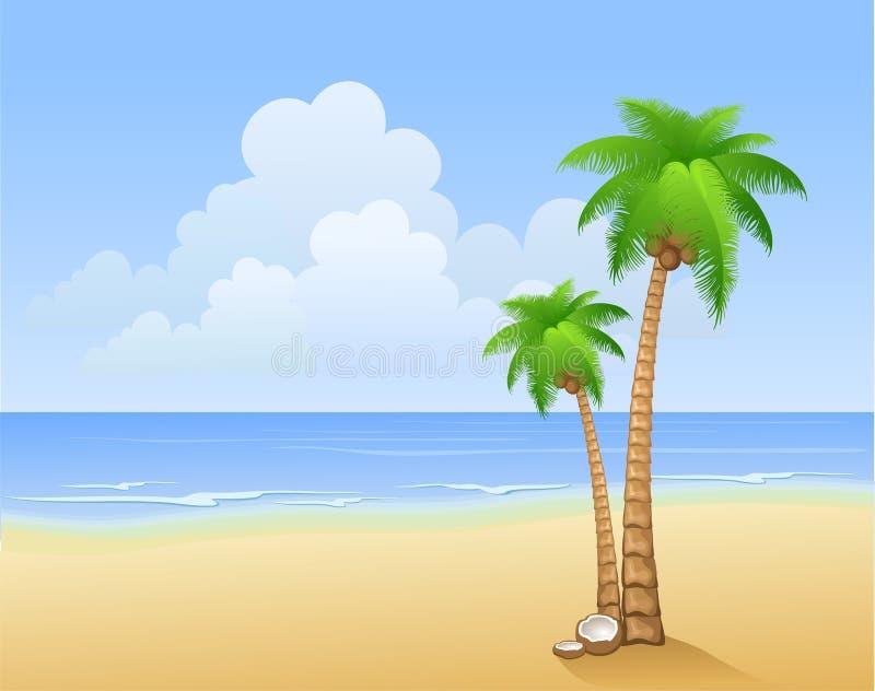 Palmeras en una playa stock de ilustración