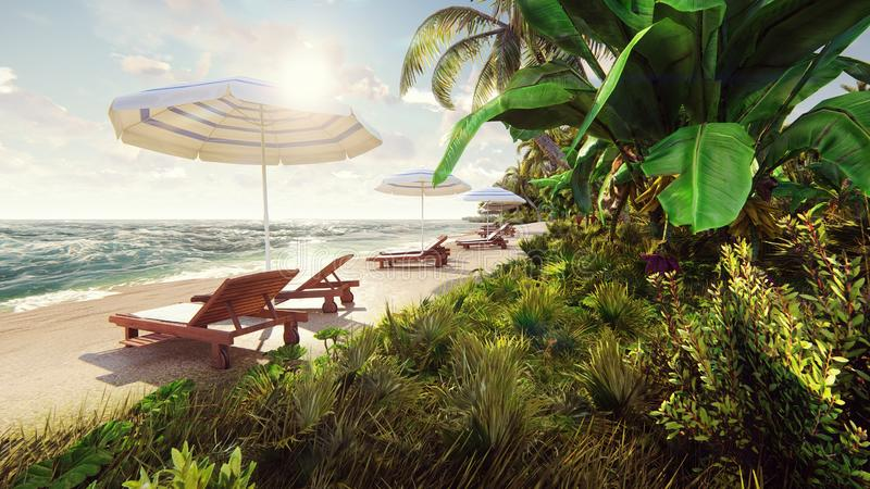 Palmeras sobre la isla tropical con la playa blanca exótica adentro en el día soleado con el cielo azul representación 3d imagen de archivo