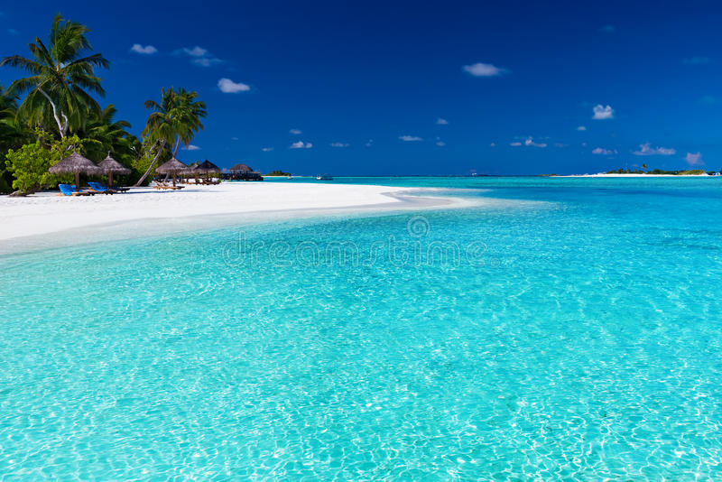 Palmeras sobre laguna imponente y la playa blanca
