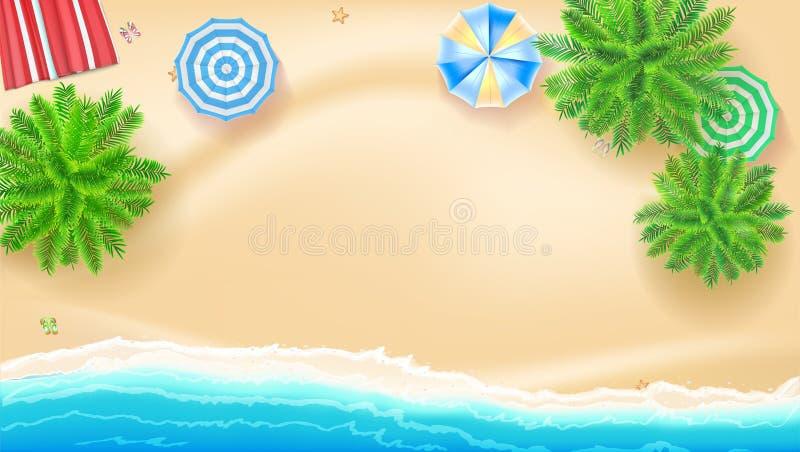 Palmeras, sombrillas de la estera de la playa en la costa, ejemplo 3D El paisaje tropical con el océano azul y el oro enarenan, r stock de ilustración