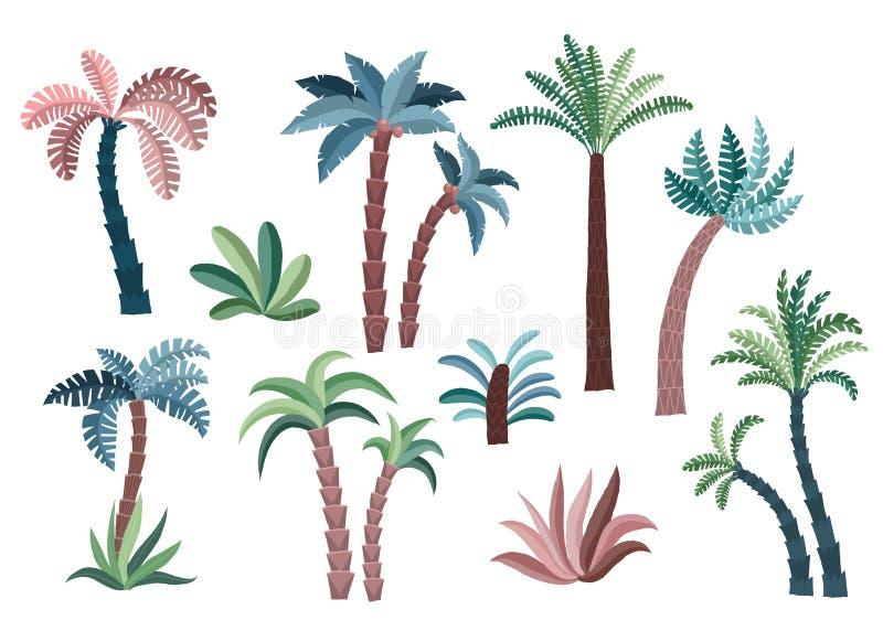 Palmeras tropicales fijadas stock de ilustración