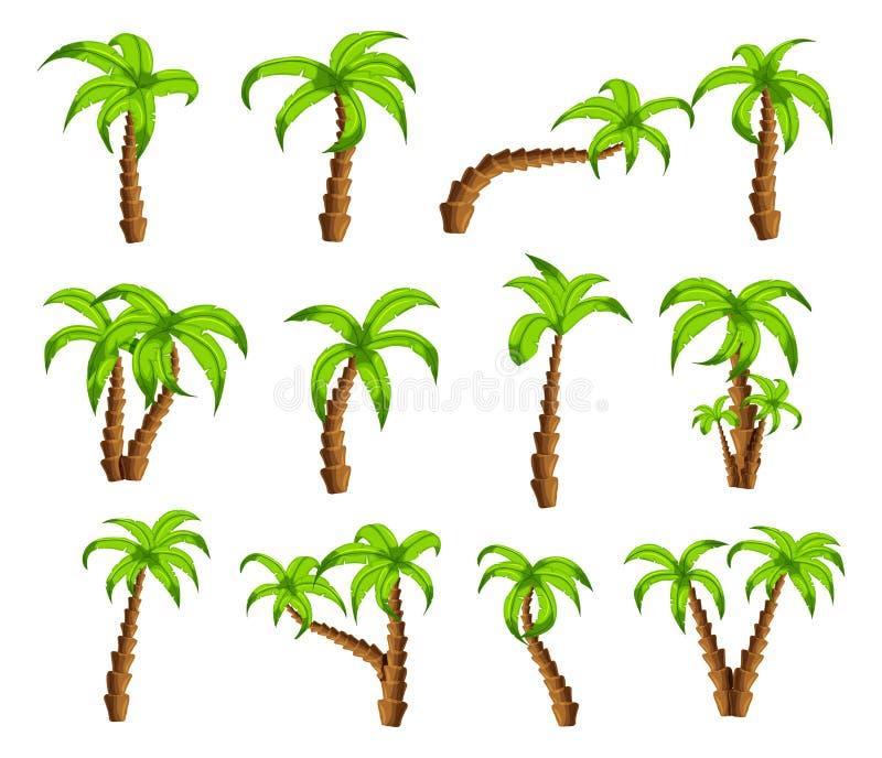 Palmeras verdes de la historieta en un fondo blanco El sistema de árboles tropicales de la historieta divertida modela iconos, pa stock de ilustración