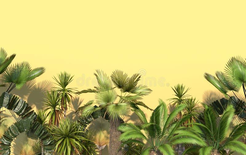Palmeras verdes y plantas exóticas tropicales en un fondo amarillo con el espacio de la copia Ejemplo creativo conceptual represe stock de ilustración