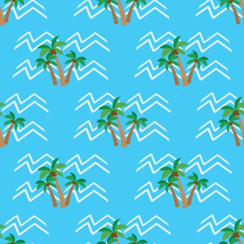 Palmeras y ondas tropicales del coco del modelo inconsútil libre illustration