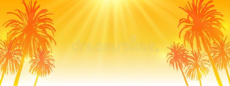 Palmeschattenbilder auf sonnigem orange Himmelhintergrund - horizontale panoramische Fahne für Ihren Sommerentwurf stock abbildung