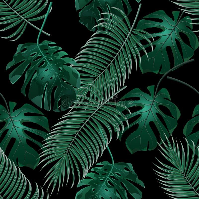 Palmettes et monstera tropicaux verts Bosquets de jungle Configuration florale sans joint D'isolement sur un fond noir illustration libre de droits
