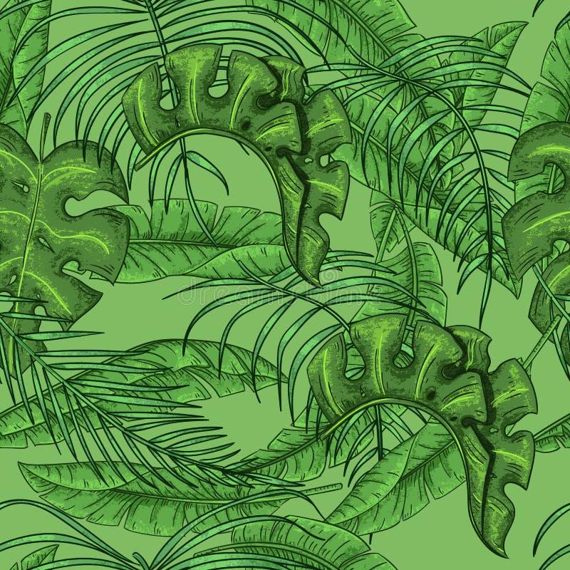 Palmettes tropicales et modèle floral sans couture de feuilles exotiques illustration de vecteur