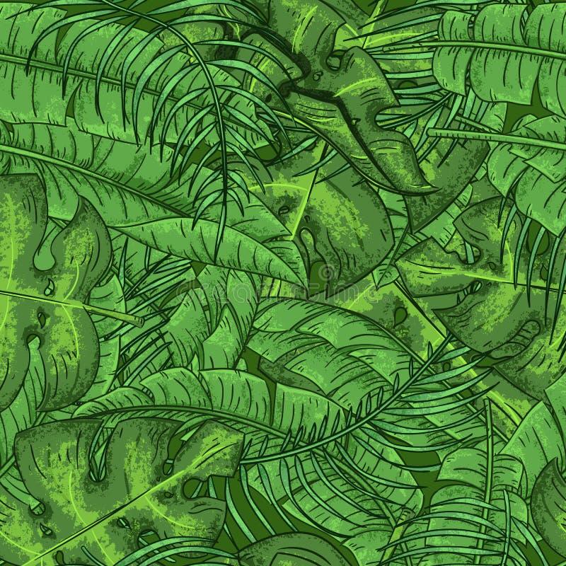 Palmettes tropicales et modèle floral sans couture de feuilles exotiques illustration stock