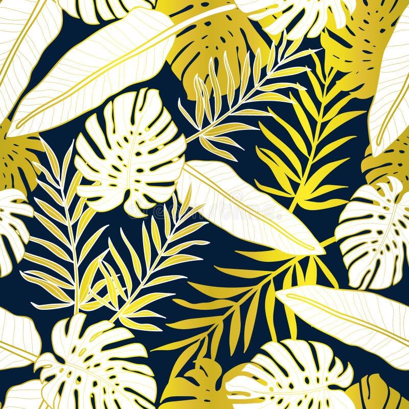 Palmettes tropicales, fond floral de mod?le de vecteur sans couture de feuille de jungle illustration stock