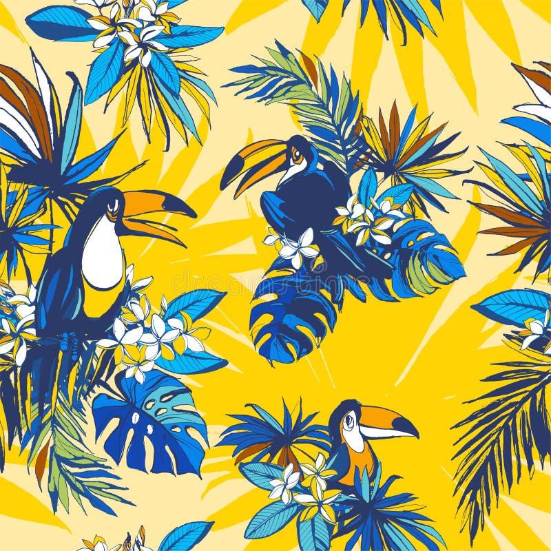 Palmettes tropicales tirées par la main de monstera de modèle sans couture, fleurs, oiseaux illustration libre de droits