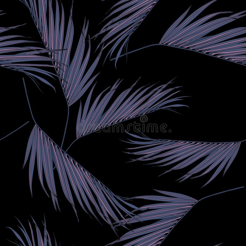 Palmettes violettes de noix de coco à la main dessin et croquis avec le modèle sans couture de ligne-art illustration stock