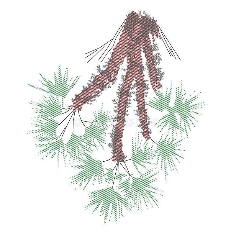 Palmetto giocherellato 1 bianco, carattere immaginario illustrazione vettoriale