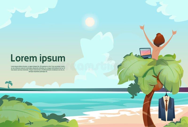 Palmier à distance indépendant de lieu de travail d'homme utilisant la vue tropicale de vacances d'été de plage d'ordinateur port illustration libre de droits