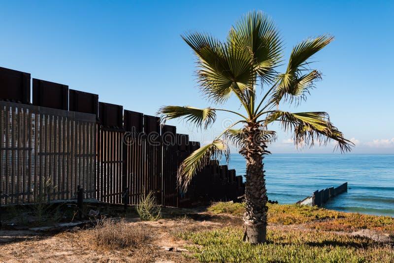 Palmier au parc d'état de gisement de frontière en San Diego Next au mur de frontière internationale photos stock