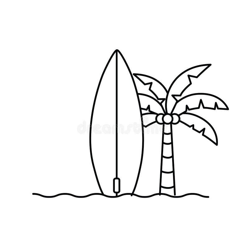 Palmier avec la planche de surf à l'arrière-plan blanc illustration de vecteur