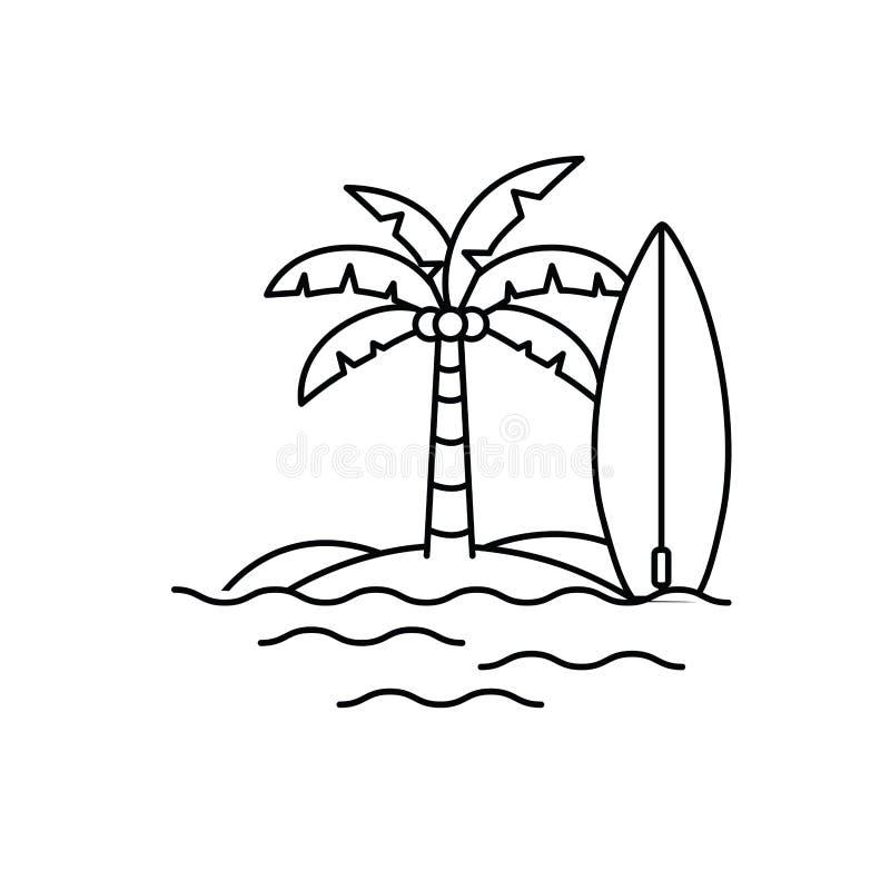 Palmier avec la planche de surf à l'arrière-plan blanc illustration libre de droits