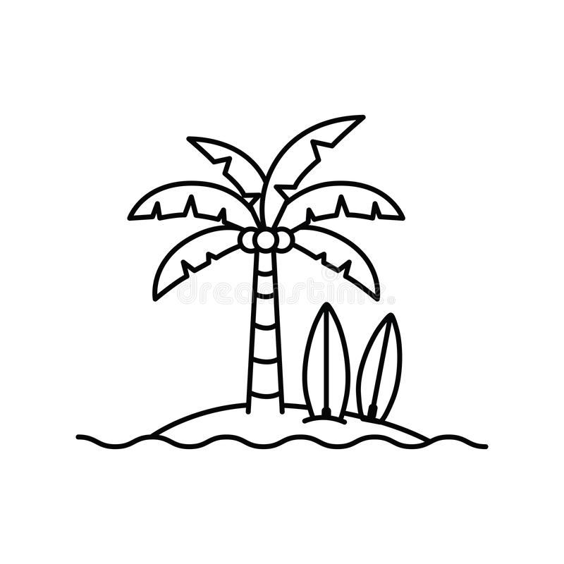 Palmier avec la planche de surf à l'arrière-plan blanc illustration stock