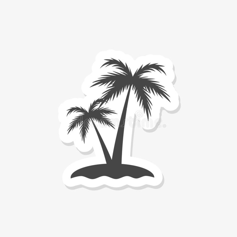 Palmier deux sur l'île tropicale sur le fond blanc illustration libre de droits