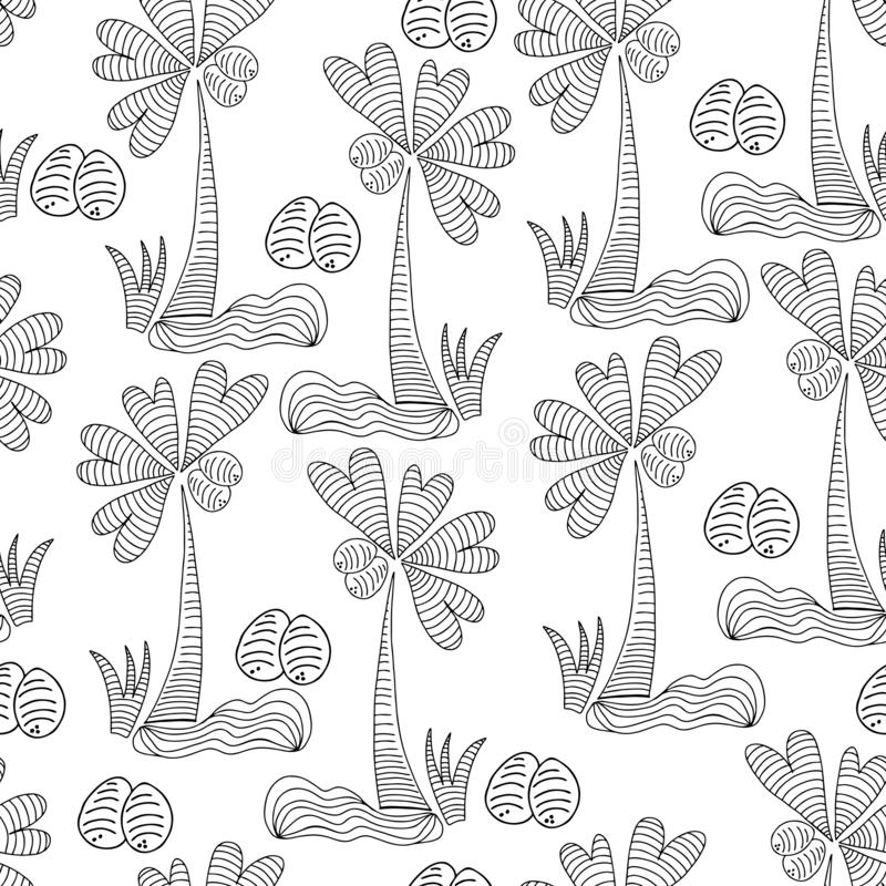 Palmier drôle avec les feuilles et les noix de coco en forme de coeur, noir et blanc modèle sans couture de vecteur de schéma illustration libre de droits