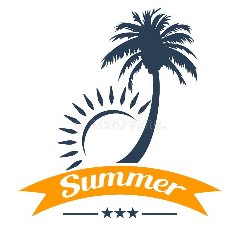 Palmier et soleil tropicaux d'été illustration de vecteur