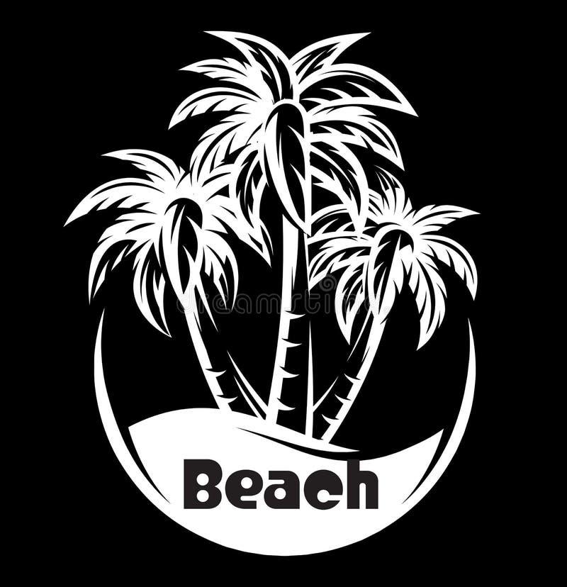 Palmier et vagues d'une plage de nuit Illustration de vecteur illustration libre de droits
