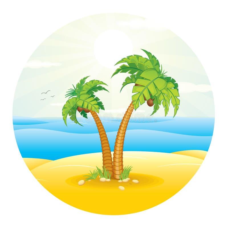 Palmier sur l'île tropicale Vecteur illustration libre de droits