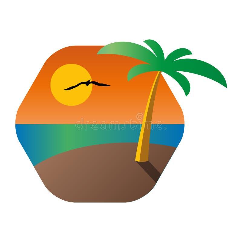 Palmier sur une île tropicale avec le fond du paysage marin illustration stock