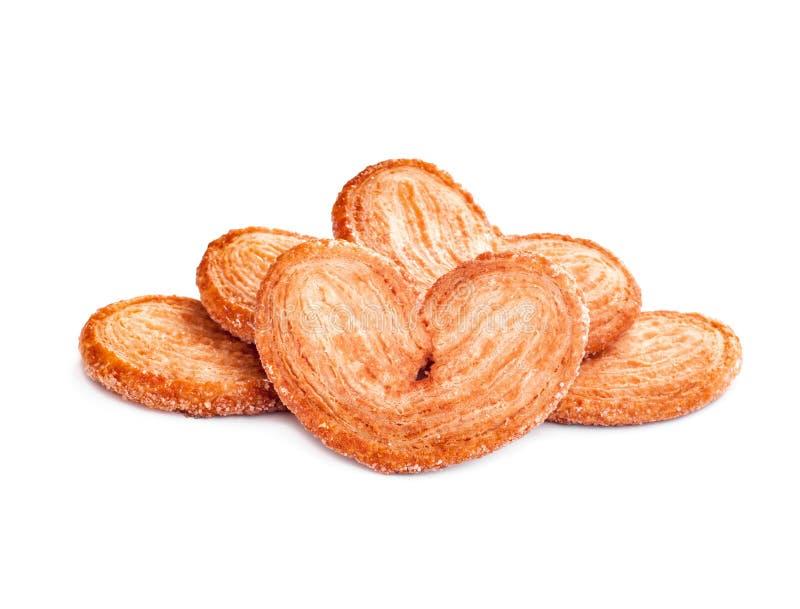 Palmiers细平面海绵体,油酥点心曲奇饼 库存照片