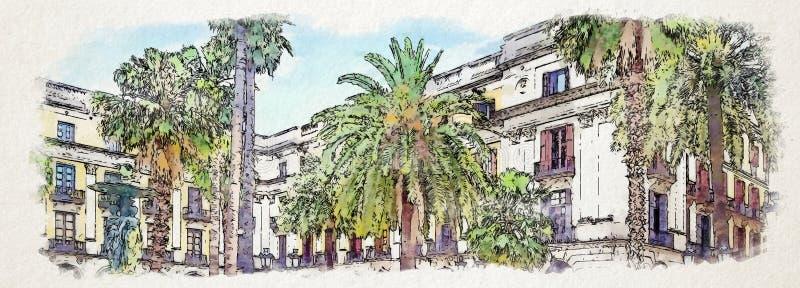 Palmiers d'illustration dans une vieille cour illustration libre de droits