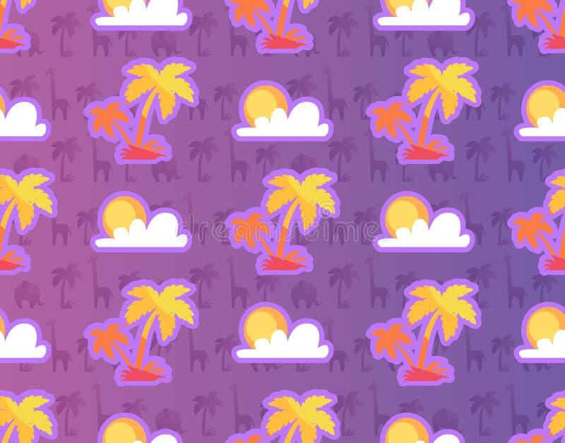 Palmiers exotiques avec les végétaux et animaux africains illustration de vecteur